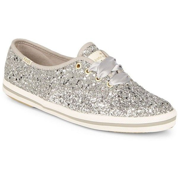 Keds Women's Glittered Sneakers ($85) ❤ liked on Polyvore featuring shoes, sneakers, silver, round cap, laced shoes, glitter shoes, glitter trainers and lacing sneakers
