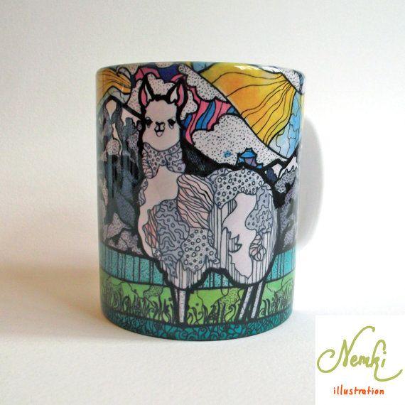 Llama Mug Ceramic Illustrated by nemki on Etsy, £10.00