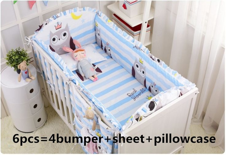 (44.80$)  Buy here  - Promotion! 6pcs Owl baby crib bedding set newborn cot bed sets baby bumper for infant ,(4bumper+sheet+pillow cover)