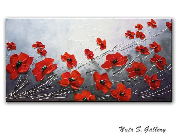 Red Poppy Painting.Landscape on Canvas by NataSgallery on Etsy
