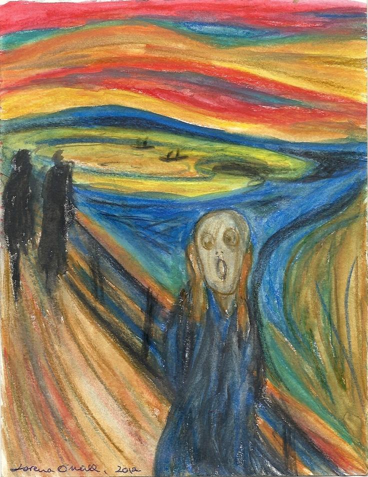 Edvard Munch - Scream (Aquarell pencils on paper, 10x15 cm