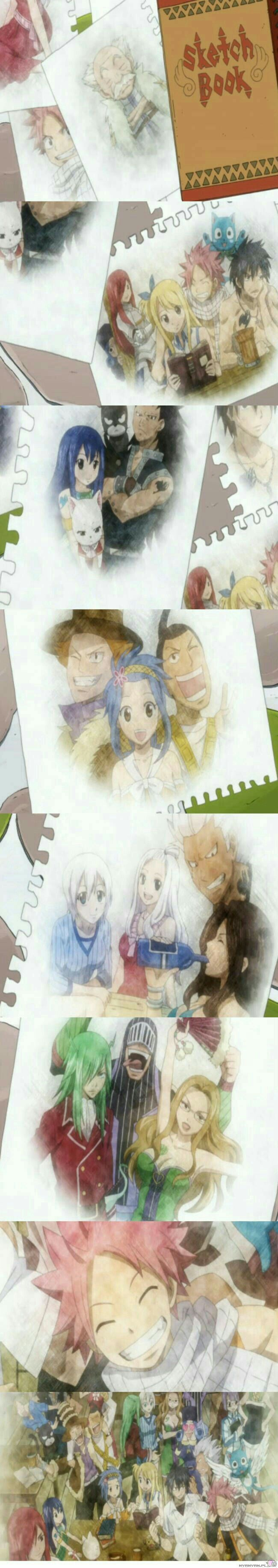 Fairy Tail characters, smiling, guild, pictures, paintings, sketches, sketchbook, text; Fairy Tail