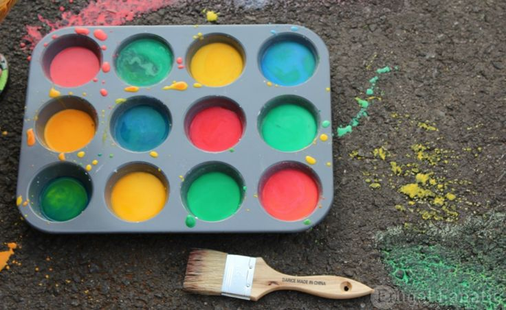Washable Sidewalk Paint - you only need 3 ingredients and you probably already have them in your pantry!