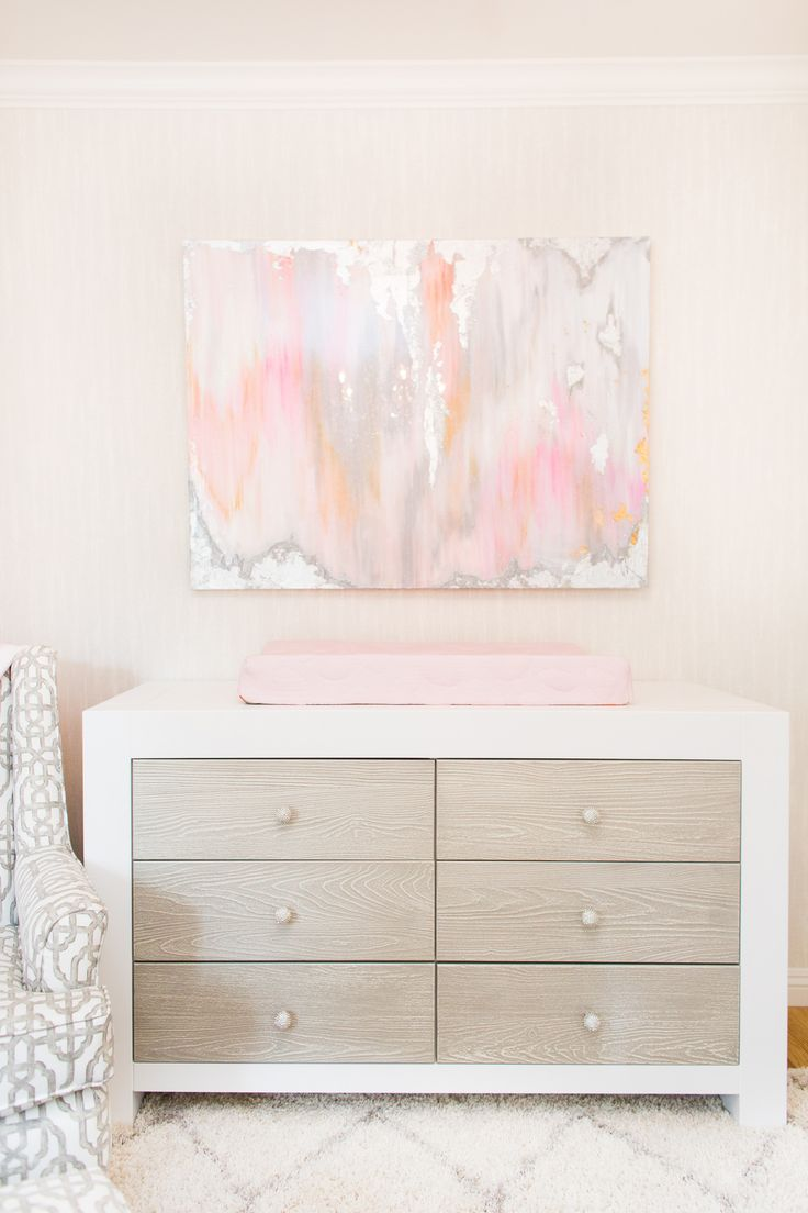 Stunning modern nursery art above baby's changer in Ali Fedotowsky's Nursery