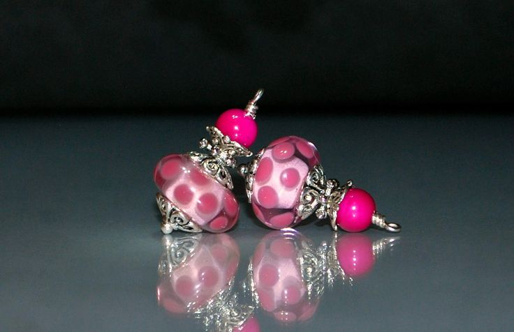2 Pink Dots on Pink Background Lampwork Bead Dangles or Earrings-Handmade Bead Dangles 14mm Murano Crystal Rondelle Glass Beads by goldcountrydangles on Etsy