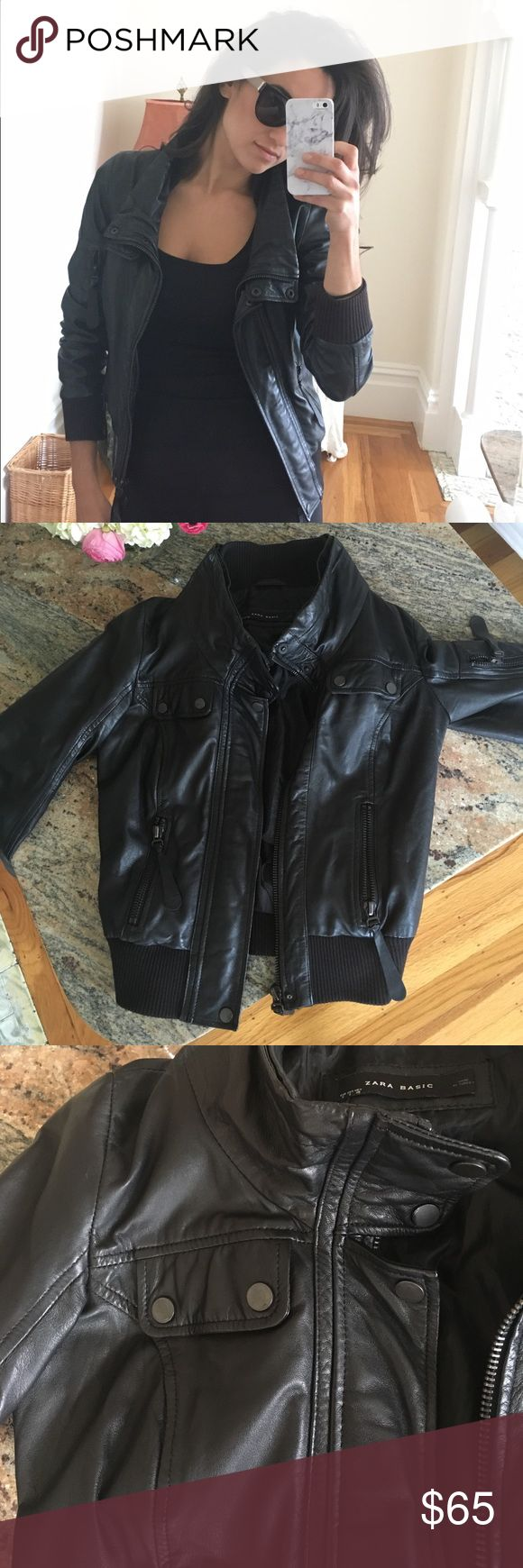 Black leather jacket Real 100 leather motorcycle bomber