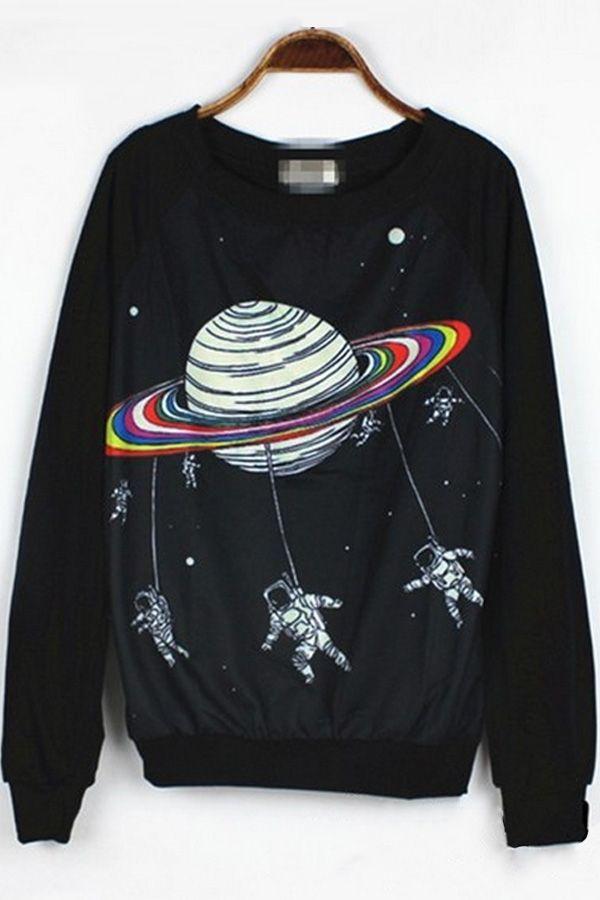 Cartoon Celestial Graphic Sweatshirt - OASAP.com