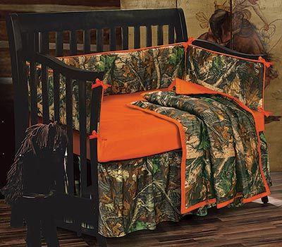 show your passion for the outdoors with our blaze orange camouflage crib bedding this bedding - Camouflage Bedding