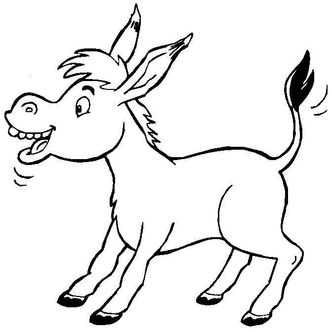 Черно белая картинка ослик