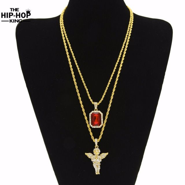 Daily Discount $12.95, Buy Mens Hip Hop Iced Out Rhinestone Pendant Necklace Set Micro Angel, Jesus, Wing, Praying Hand Pendant Necklace Male Jewelry Gift