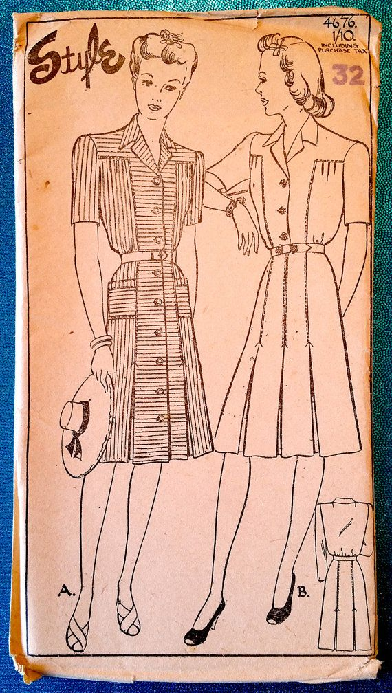 "Rare vintage 1940's button front dress sewing pattern - Style 4676 - size 32"" bust, 26"" waist, 35"" hip - 1940s"