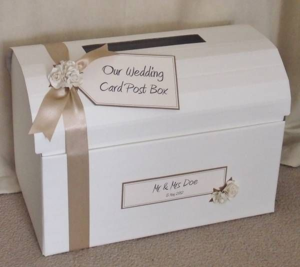Champagne Ecru Wedding Chest Post Box With Paper Roses