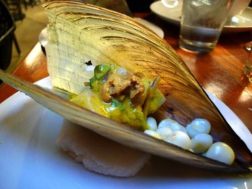 Ceviche Mixto: Tairagai, uni, sea bass, aji amarillo leche de tigre sauce by Chef Ricardo Zarate