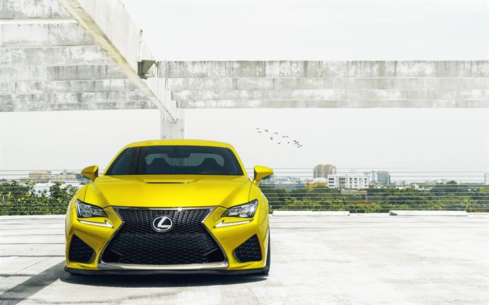 Download wallpapers Lexus RC F, 2018, exterior, front view, yellow luxury coupe, sports car, yellow RC F, Japanese cars, Lexus