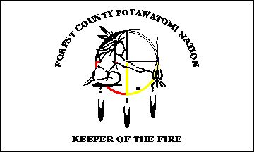 "Forest County Potawatomi - Wisconsin flag - Overlaying the circle of life is a gray outline image of a warrior tending a campfire - thus the ""Keeper of the Sacred Fire"". Hanging from the circle are three eagle feathers depicted in black and white."