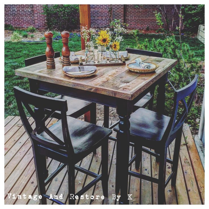 So rustic, so charming!  This custom refinished rustic high top table was painted on our very own Noir then topped with our Protective Finish