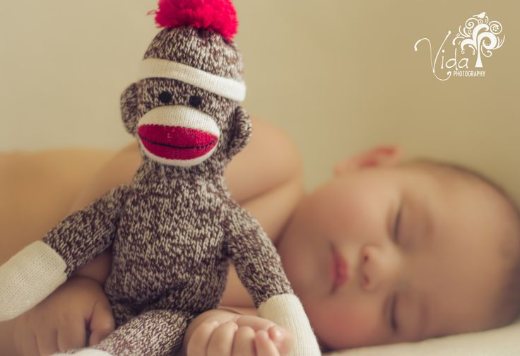 8 Month-Indoor-Baby Photography-Sock monkey...my son Lucas-by Rosanna Castillo