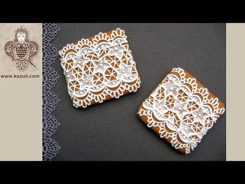VIDEO TUTORIAL @kozuli_com  / Lace Cookies / Mother's day cookies / Royal icing cookies / Icing cookies / Decorated cookies / Cookie decorating / Cookie decorating ideas / Sugar cookies / Sugar cookie icing  / More video tutorials at www.kozuli.com
