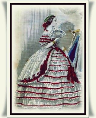 Civil War Southern Belle 1863 Gown in Red and White