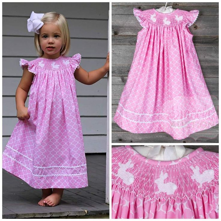 "Smocked Bunny Dress Pink Quatrefoil Pre-Order shipping by March 20th, 2015 Brand: Classic Whimsy. ***LIMITED QUANTITY*** Price: $36.99 Options: 3M, 6M, 9M, 12M, 18M, 24M, 2T, 3T, 4T, 5, 6 To bid, comment with ""Sold, size, email address""."