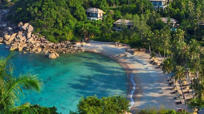 Den private stranden på Banyan Tree Samui