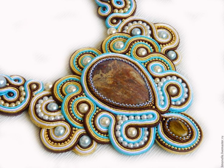 """Купить Колье """"Осенний джаз"""" - коричневый, бронзовый, голубой, белый, бежевый, сутажное колье"""