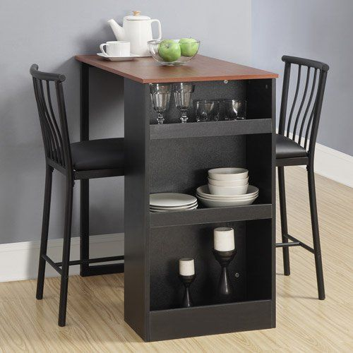 Isla 3 Piece Counter Height Dining Set With Storage Espresso Kitchen Table Setsbar