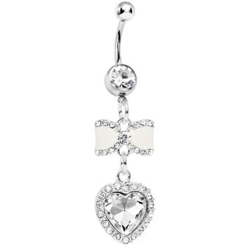 Clear Gem White Bowtie Dangling Heart Belly Ring #bodycandy #bellyring #bow $11.99