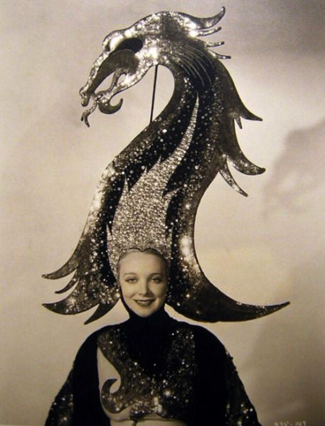 Virginia Bruce  c. 1930s: Parties Hats, Head Pieces, Fashion Models, Gilbert Adrian, Mad Hatters, Dragon, Costume, Headpieces, Actresses
