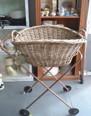Vintage Laundry trolley hamper basket.