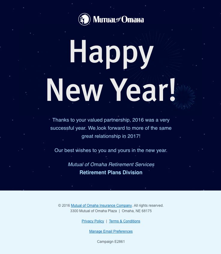 Mutual of Omaha Insurance sent this email with the subject line: Smiles Davis, Happy New Year from Mutual of Omaha Retirement Services - Read about this email and find more customer appreciation emails at ReallyGoodEmails.com #customerappreciation #gif #newyear