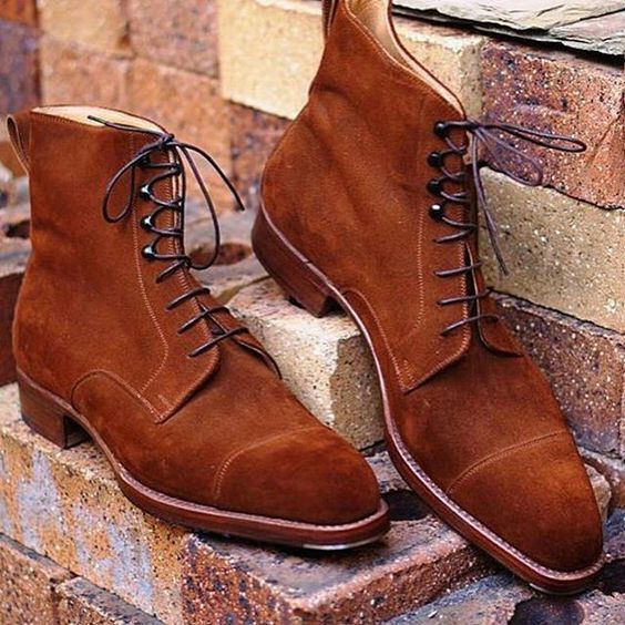 Handmade Men's Tan color cap toe ankle boots, Men suede tan color laceup boots - Boots