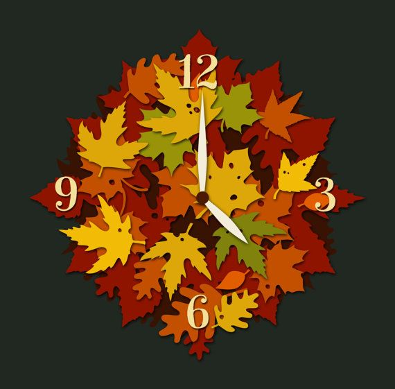 IOOI  autumn leaves wood clock by atillacsiszer on Etsy