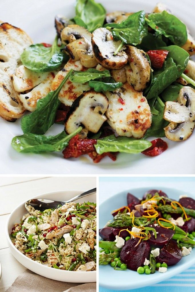 Greek-Style Mushroom and Haloumi Salad. Quinoa, Chicken and Feta Salad. Beetroot Salad with Balsamic Dressing - Recipes for Australia Day parties