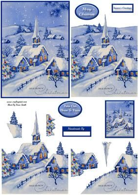 Snowy Village Decoupage on Craftsuprint designed by Russ Smith - Approx A6 sized decoupage topper, decoupage layers, greeting banners and insert topper, featuring a lovely vintage painting of a snowy village with church and Christmas tree, in a blue and white tone. - Now available for download!