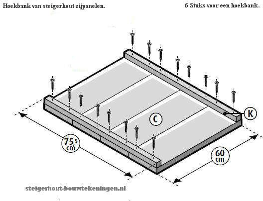Armleuningen van steigerhout bouwen voor een hoekbank loungebank of tuinstoel XL.