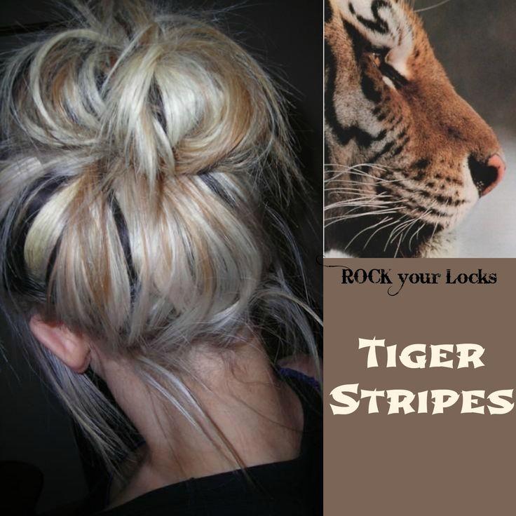 Tiger Stripes Hair Colour Inspiration - Blonde Brown Black ♡ Rock your Locks