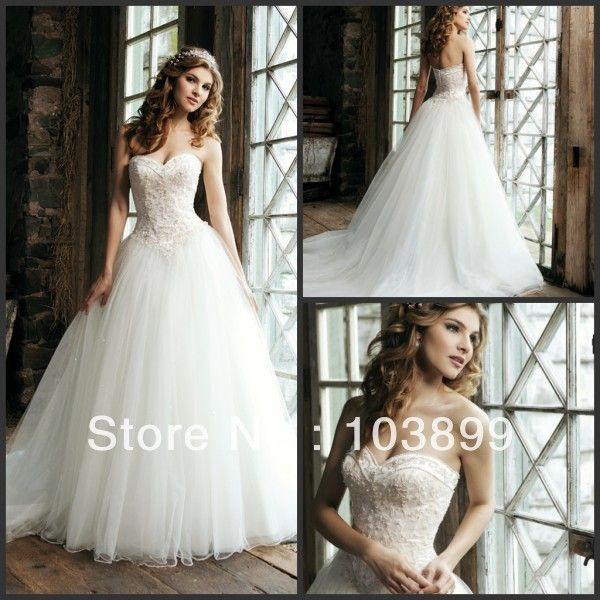 New Fashioned Ball Gown Sweetheart Pearls with Appliques Puffy Tulle Princess Wedding Dress 2014