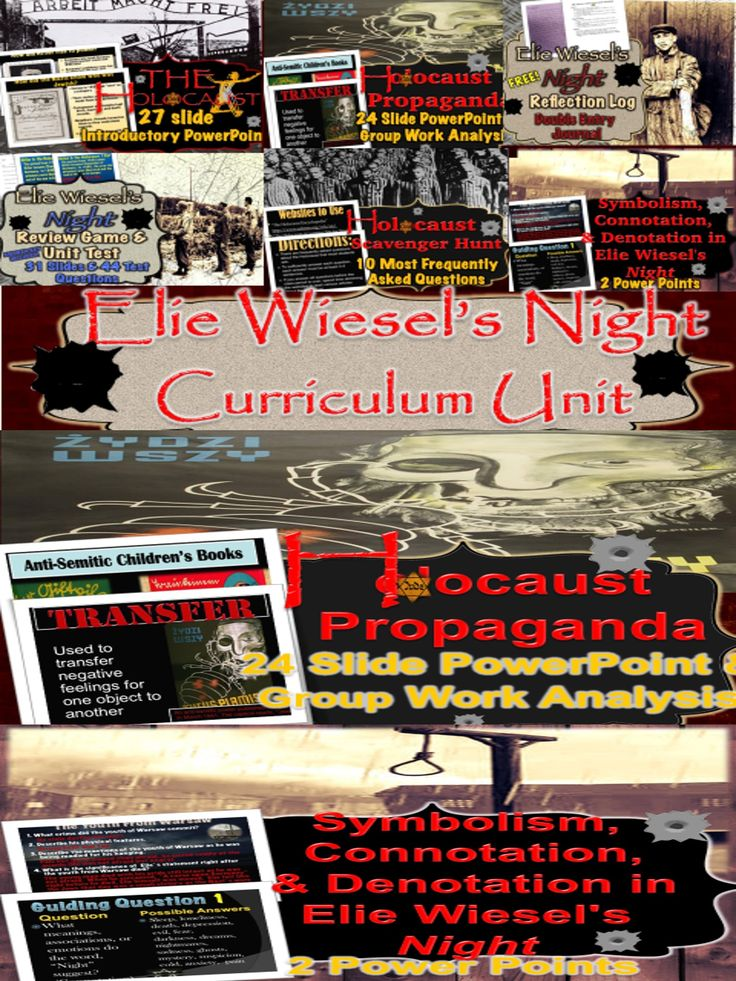*****MY BEST SELLING ITEM*******   Common Core Aligned!   This is a 3 week unit on Elie Wiesel's Night aligned to Common Core and lesson plans are included! There are 16 Power Points and 10 handouts included as well.