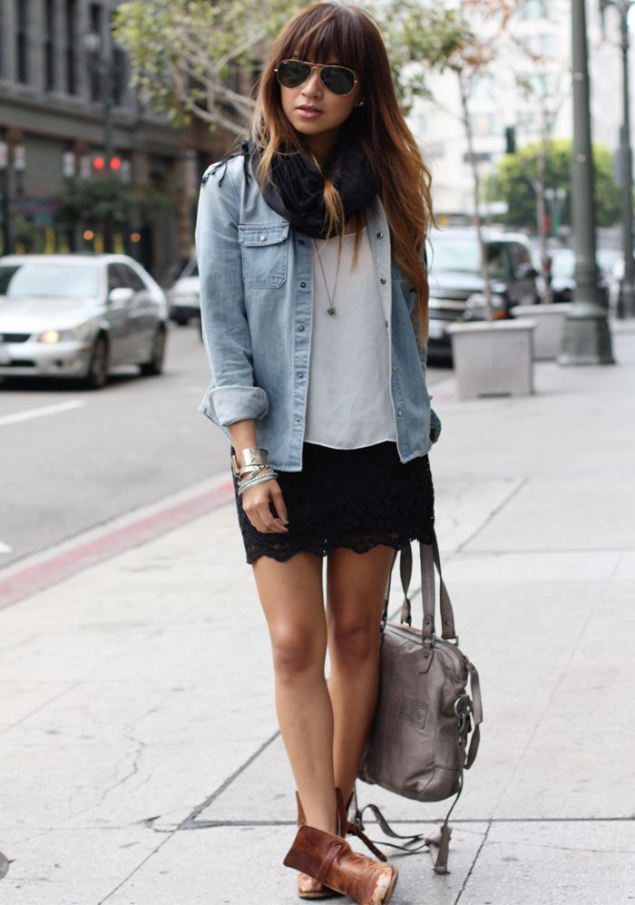 light denim shirt... can't be too hard to find. its the scalloped shorts that make it adorable!