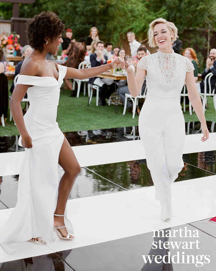 "Exclusive: See Samira Wiley and Lauren Morelli's Incredible Wedding Photos | Martha Stewart Weddings - For their first dance, the pair invited everyone to get down with them to ""Uptown Funk,"" by Mark Ronson featuring Bruno Mars."