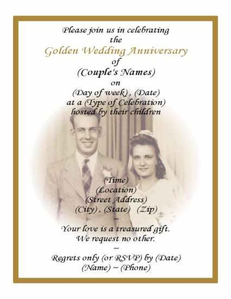 printable 50th wedding anniversary invitations with pic