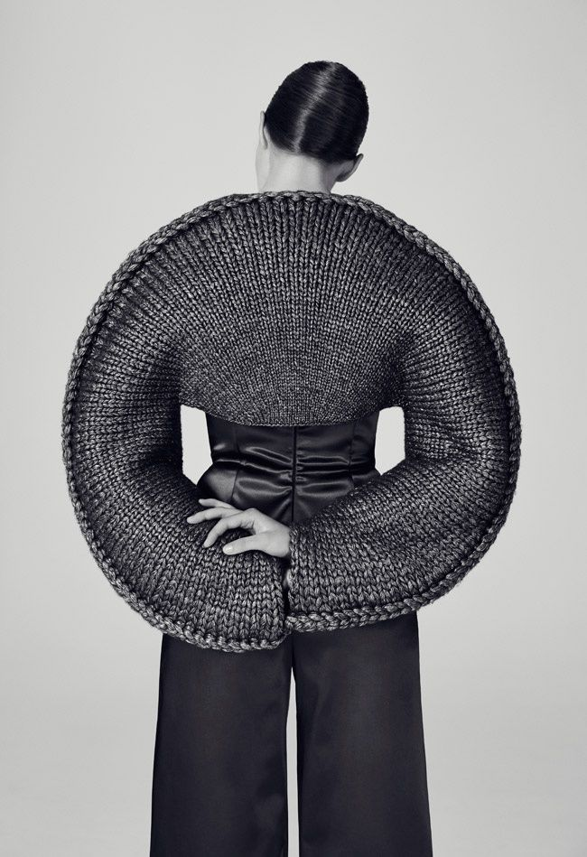 Sculptural Knitwear Design - knitted top with 3D circular silhouette; geometric fashion // Matilda Norberg