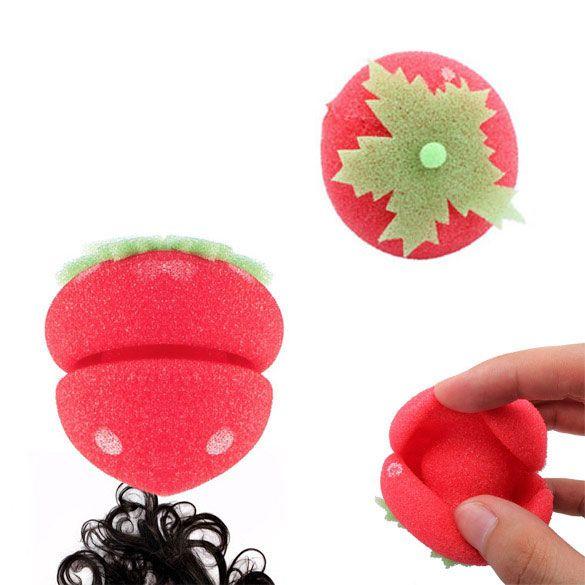 Magic Beauty Hair Makers Strawberry Foam Sponge Ball Hair Curlers Soft Sponge Bendy Twist Curls Salon Styling Hair Tool
