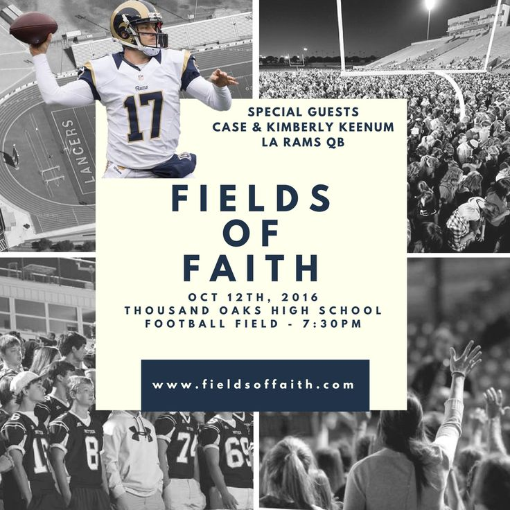 This is an interdenominational (Christ centered) event taking place next Wednesday at TO High School for any middle school - college aged person that would like to attend. Similar gatherings will be happening on the same day on football fields throughout the country. This is a growing yearly event, but it is the first Fields of Faith gathering for Ventura County. LA Rams quarterback Case Keenum will be speaking. My son, Nate, is helping lead worship.  Go to website for more info.