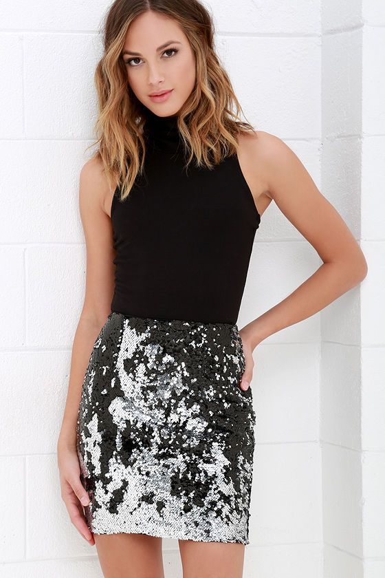 $38  Sequin Siren Silver and Black Sequin Skirt at Lulus.com!