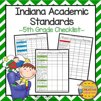 Indiana Standards 5th Grade Checklist- EditableNEW Indiana Standards 5th Grade ChecklistThese standard checklist will help you and your students stay focused and organized. There are 2 versions included. Color coded version that matches the standards in my store and black and white version.