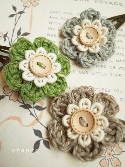 A little crochet, a lace flower and a button, that's all it takes to make this cute little flower. (Cant read the instructions but this would be so easy.)