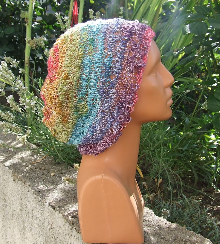 Hand knitted slouchy rainbow beanie   - Summer cotton boho slouch beanie   - Ladies multi colour textured loose knit  slouchy hippy hat by WoolieBits on Etsy