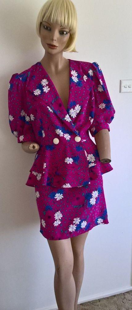 40d4d3fb86 Vintage 80s Barry Joseph floral 2 pce peplum jacket and pencil skirt Size  12/M #fashion #clothing #shoes #accessories #vintage #womensvintageclothing  (ebay ...